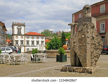 Guimaraes, Portugal - May 19, 2018: art composition of knight on square in Guimaraes, Portugal