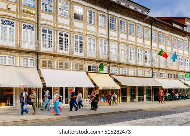 GUIMARAES, PORTUGAL - OCT 14, 2016: Architecture of the  Toural square of Historic Centre of Guimaraes, Portugal. UNESCO World Heritage