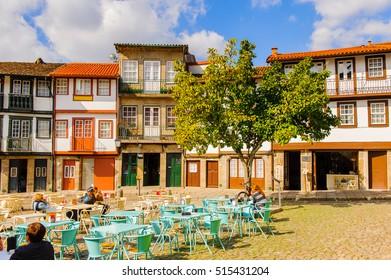 GUIMARAES, PORTUGAL - OCT 14, 2016: Oliveira Plaza of Historic Centre of Guimaraes, Portugal. UNESCO World Heritage