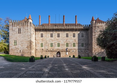 Guimaraes, Portugal - October 13, 2017: Palace of the Duques of Braganca, a medieval palace and museum in Guimaraes, Portugal - Unesco World Heritage Site.