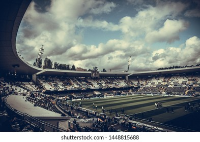 GUIMARAES, PORTUGLAL - June 05, 2019: General view of the stadium at the Estadio D. Afonso Henriques during the UEFA Nations League match between Switzerland and Netherlands, Portugal