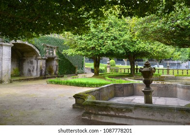 Guimaraes,Portugal-14/08/2015:Beautiful 3-landing garden decorated with a Baroque fountain near Vila Flor.Vila Flor Palace,built by Tadeu Luis Antonio Lopes de Carvalho de Fonseca and Camoes in18th