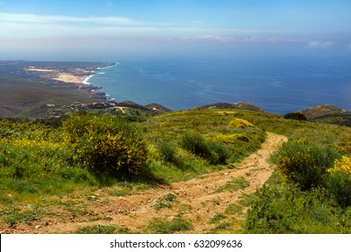 Guincho beach and Cascais coastline seen from Peninha hills in Sintra - Portugal