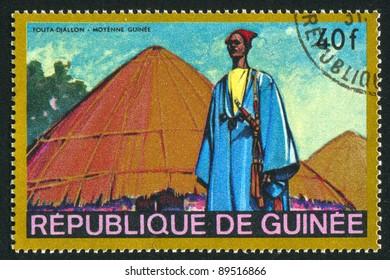 GUINEA - CIRCA 1968: A stamp printed by Guinea, shows Fouta Djallon, West Guinea, circa 1968