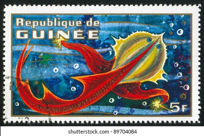 GUINEA CIRCA 1972: stamp printed by Guinea, shows Imaginary Prehistoric Space Creature, circa 1972