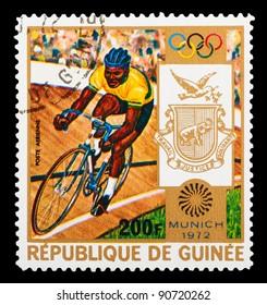GUINEA - CIRCA 1972: A stamp printed in GUINEA shows cycling, series Olympic games in Munich, circa 1972