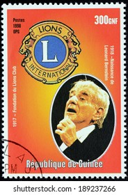 GUINEA - CIRCA 1998: a postage stamp printed by Guinea shows image portrait of famous American composer, conductor, author, music lecturer, and pianist Leonard Bernstein, circa 1998.