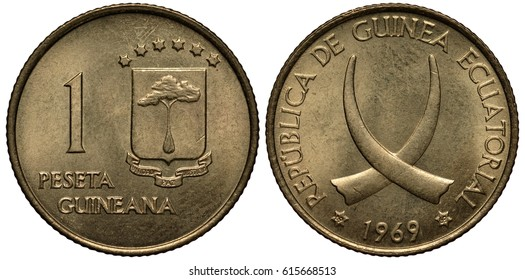 Guinea Guinean coin 1 one peseta 1969, shield with tree divides stars and ribbon, crossed tusks, date below also repeated in hexagonal stars