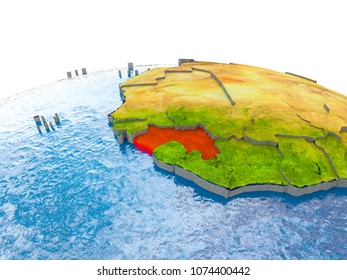 Guinea highlighted in red on globe with realistic land surface, visible country borders and water in place of oceans. 3D illustration. Elements of this image furnished by NASA.