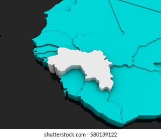 guinea map 3D illustration