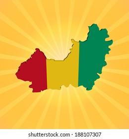 Guinea map flag on sunburst illustration