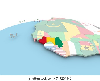 Guinea on political globe with embedded flags. 3D illustration.
