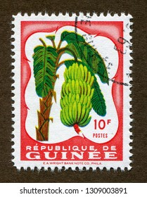 Guinea stamp no circa date: A stamp printed in Guinea shows Banana illustration.