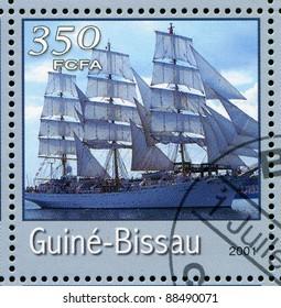 GUINEA-BISSAU - CIRCA 2001: stamp printed by Guinea - Bissau, shows sailing ship, circa 2001.