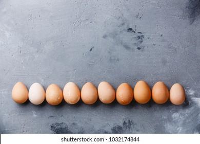 Guinea-fowl eggs on concrete background copy space