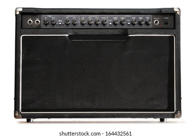 Guitar amplifier on white background