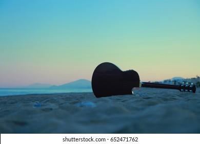 Guitar in the beach