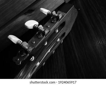 guitar black and white photo, collection, Banda Aceh, Sumatra, Indonesia, February 25, 2021.