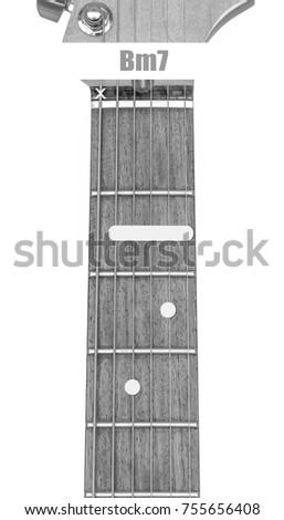Guitar Chord Bm 7 Black White Isolate Stock Photo (Edit Now ...