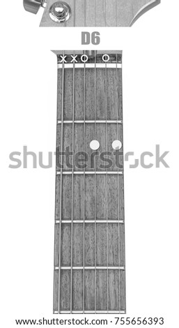 Guitar Chord D 6 Black White Isolate Stock Photo Edit Now