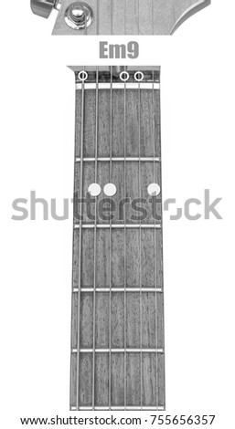 Guitar Chord Em 9 Black White Isolate Stock Photo Edit Now