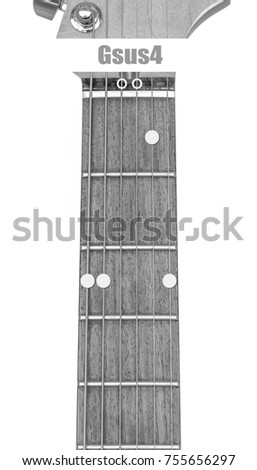 Guitar Chord Gsus 4 Black White Isolate Stock Photo Edit Now