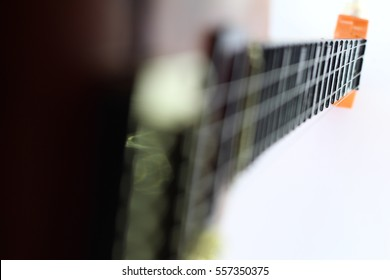 guitar close up white background. musical background