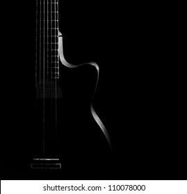 Guitar curves on a black background,