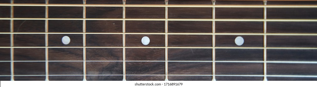 Guitar fretboard. Banner. Close-up. Vulture of an acoustic guitar.