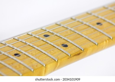 Guitar frets, markers, strings and black dots on white background
