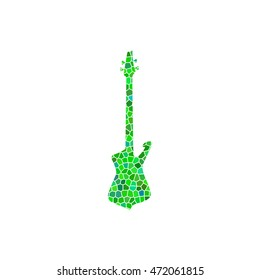 Guitar - green  mosaic illustration