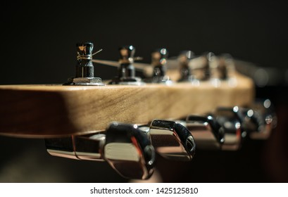 Guitar head stock with low light and depth of field