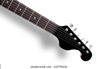 Guitar neck front side, electric guitar made of black polymer and wood