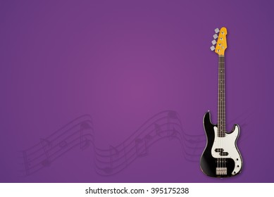 Guitar and notes on grape background