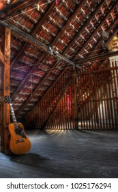 A guitar on the attic