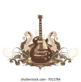 Guitar on the  grunge background.  illustration.