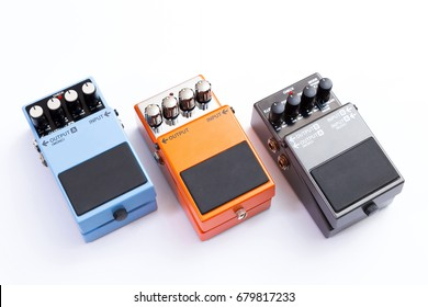 Guitar pedals. Set of guitar effect pedals on white background.