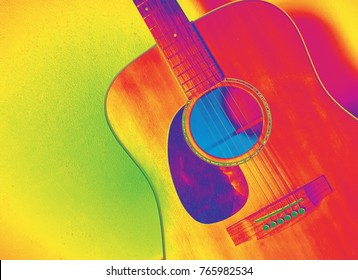 Guitar picture infrared color.Musical instruments have 6 lines. Play for entertainment.It is a string instrument.Take a pick The sound of the guitar is caused by the vibration of the guitar.