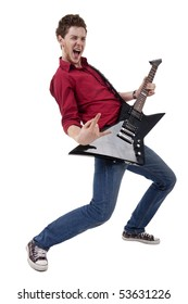 Guitar player isolated against white back ground