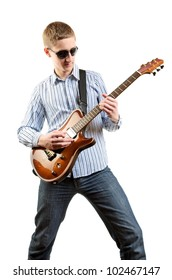 Guitar player playing his guitar isolated on white background