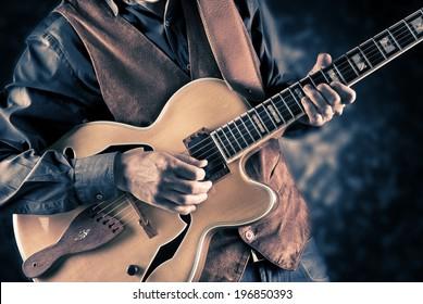 guitar player, vintage filtered image