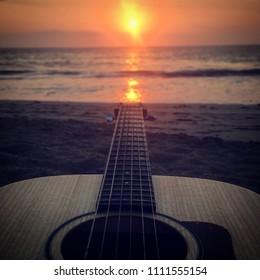 Guitar at Sunset: Carmel Beach, Big Sur, California, USA