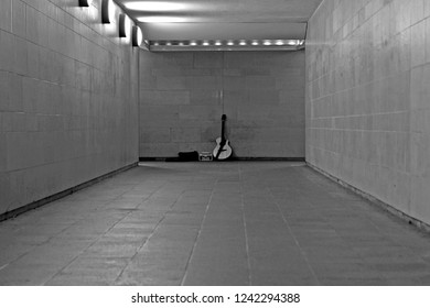 guitar in a tunnel