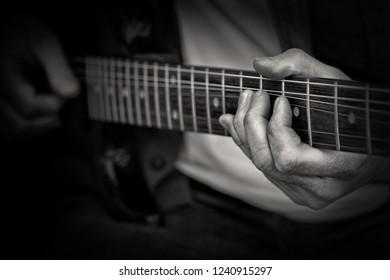 Guitarist in black and white