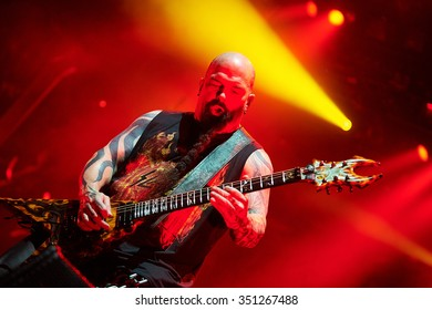 """Guitarist Kerry King of Slayer performs live on stage during a Repentless concert at """"Stadium-Live"""" on December 9, 2015 in Moscow, Russia."""