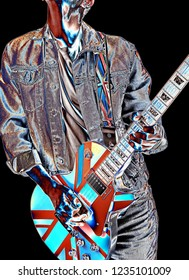guitarist playing an electric guitar with british flag,psychedelic artist image