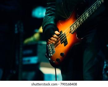Guitarist  playing  guitar on concert