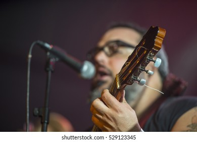 Guitarist playing live