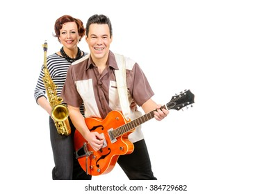 Guitarist Saxophonist Duo Style 60 S Rocknroll Stock Photo