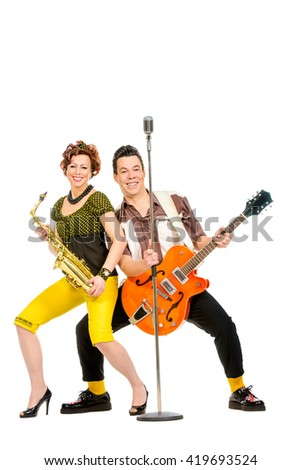Guitarist Saxophonist Duo Style 60 S Rocknroll Stock Photo (Edit Now